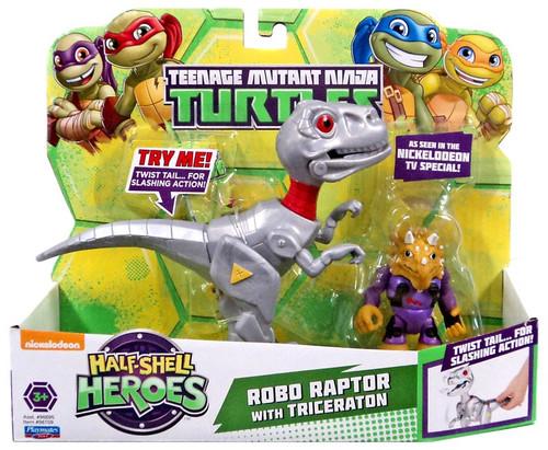 Teenage Mutant Ninja Turtles Nickelodeon Half Shell Heroes Robo Raptor with Triceraton Action Figure