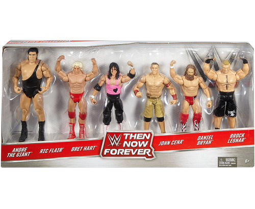 WWE Wrestling Then Now Forever Andre, Flair, Hart, Cena, Bryan & Lesnar Exclusive Action Figure 6-Pack