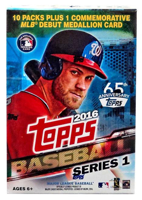 MLB Topps 2016 Series 1 Baseball Trading Card BLASTER Box [10 Packs + 1 Medallion Card!]
