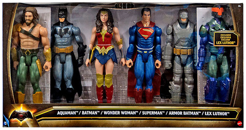 DC Batman v Superman: Dawn of Justice Aquaman, Batman, Wonder Woman, Superman, Armor Batman & Lex Luthor Exclusive Action Figure 6-Pack