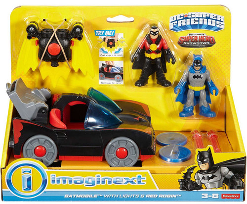 Fisher Price DC Super Friends Imaginext Super Hero Showdown Batmobile with Lights & Red Robin Exclusive 3-Inch Figure Set
