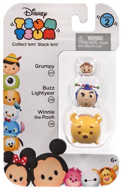 Disney Tsum Tsum Series 2 Grumpy, Buzz Lightyear & Winnie the Pooh Minifigure 3-Pack #207, 238 & 148