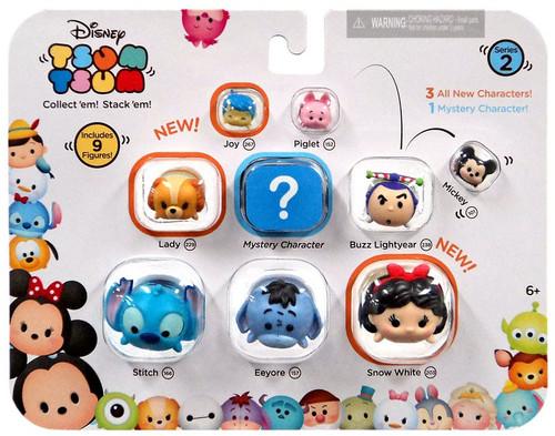 Disney Tsum Tsum Series 2 Joy, Piglet, Mickey, Lady, Buzz, Stitch, Eeyore & Snow White 1-Inch Minifigure 9-Pack #00220
