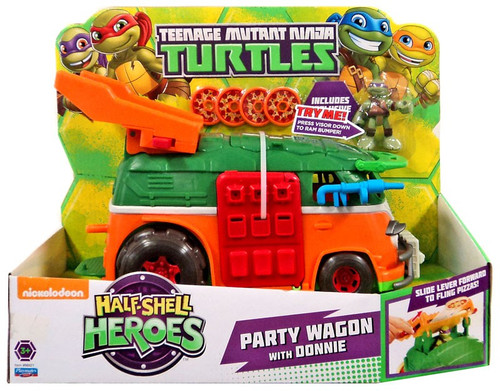 Teenage Mutant Ninja Turtles Nickelodeon Half Shell Heroes Party Wagon with Donnie Action Figure Vehicle