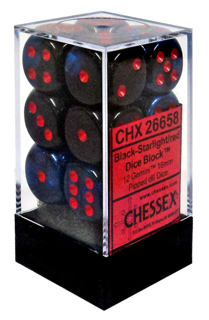 Chessex 6-Sided d6 Gemini 16mm Dice Pack #26658 [Black-Starlight/Red]