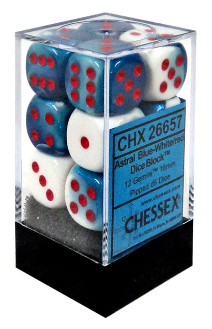 Chessex 6-Sided d6 Gemini 16mm Dice Pack #26657 [Astral Blue-White/Red]