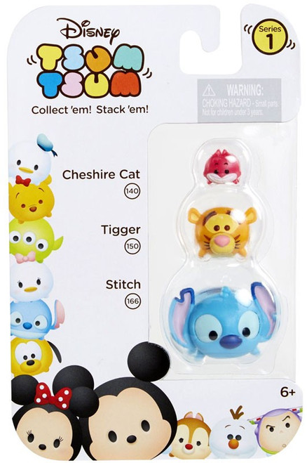 Disney Tsum Tsum Series 1 Cheshire Cat, Tigger & Stitch Minifigure 3-Pack #140, 150 & 166