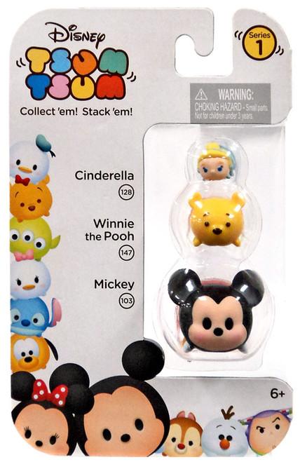 Disney Tsum Tsum Series 1 Cinderella, Winnie the Pooh & Mickey Minifigure 3-Pack #128, 147 & 103