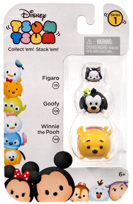 Disney Tsum Tsum Series 1 Figaro, Goofy & Winnie the Pooh Minifigure 3-Pack #119, 108 & 148