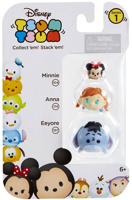 Disney Tsum Tsum Series 1 Minnie, Anna & Eeyore Minifigure 3-Pack #104,174 & 157