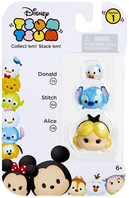 Disney Tsum Tsum Series 1 Donald, Stitch & Alice Minifigure 3-Pack #113, 165 & 136