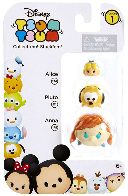 Disney Tsum Tsum Series 1 Alice, Pluto & Anna Minifigure 3-Pack #134, 111 & 175