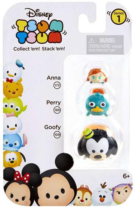 Disney Tsum Tsum Series 1 Anna, Perry & Goofy Minifigure 3-Pack #173, 168 & 109