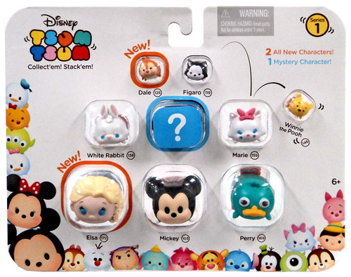 Disney Tsum Tsum Series 1 Dale, Figaro, Pooh, White Rabbit, Marie, Elsa, Mickey & Perry 1-Inch Minifigure 9-Pack