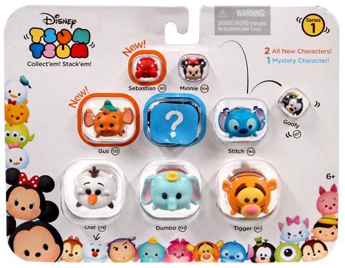 Disney Tsum Tsum Series 1 Sebastian, Minnie, Goofy, Gus, Stitch, Olaf, Dumbo & Tigger 1-Inch Minifigure 9-Pack