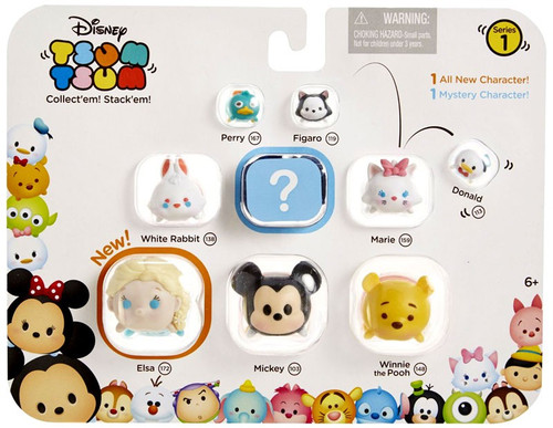 Disney Tsum Tsum Series 1 Perry, Figaro, Donald, White Rabbit, Marie, Elsa, Mickey & Pooh 1-Inch Minifigure 9-Pack