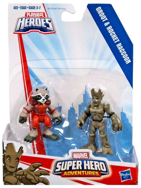 Marvel Playskool Heroes Super Hero Adventures Groot & Rocket Raccoon Action Figure 2-Pack
