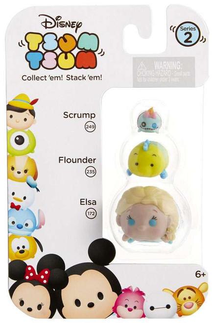 Disney Tsum Tsum Series 2 Scrump, Flounder & Elsa Minifigure 3-Pack #249, 235 & 172