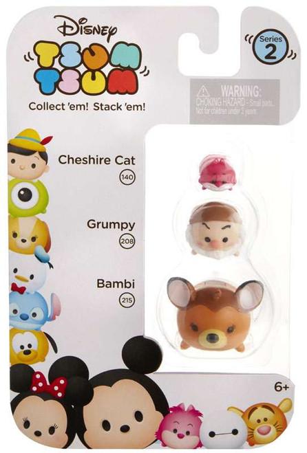 Disney Tsum Tsum Series 2 Cheshire Cat, Grumpy & Bambi Minifigure 3-Pack #140, 208 & 215