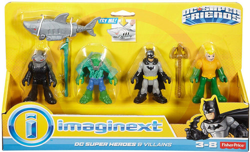 Fisher Price DC Super Friends Imaginext Batman Heroes & Villains K. Croc, Black Manta, Batman & Aquaman 3-Inch Mini Figure 4-Pack
