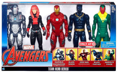 Marvel Avengers Titan Hero Series War Machine, Black Widow, Iron Man, Black Panther & Vision Exclusive Action Figure