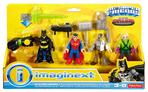 Fisher Price DC Super Friends Imaginext Super Hero Showdown Batman, Superman, Metallo & Lex Luthor 3-Inch Figure 4-Pack
