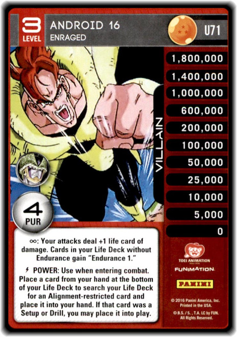 Dragon Ball Z Perfection Uncommon Android 16 - Enraged (level 3 U71