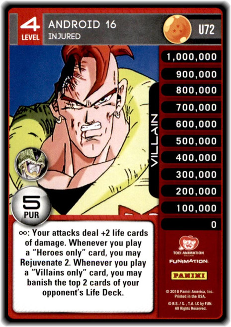 Dragon Ball Z CCG Perfection Uncommon Android 16 - Injured (level 4 U72