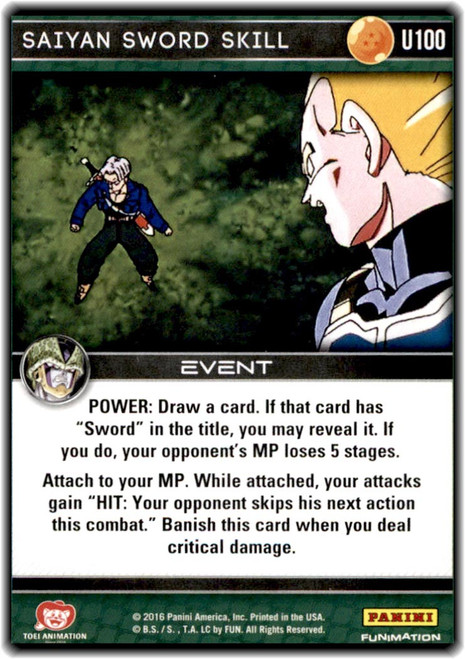Dragon Ball Z Perfection Uncommon Saiyan Sword Skill U100