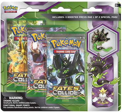 Pokemon Trading Card Game XY Fates Collide Zygarde Pin Collection [3 Booster Packs & Pin!]