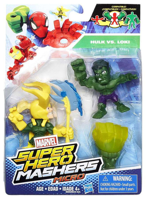 Marvel Super Hero Mashers Micro Loki & Hulk Action Figure 2-Pack