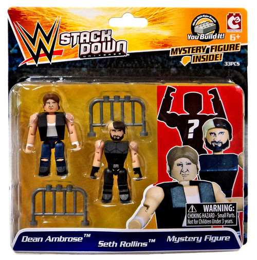 WWE Wrestling C3 Construction StackDown Dean Ambrose, Seth Rollins & Mystery Figure Minifigure