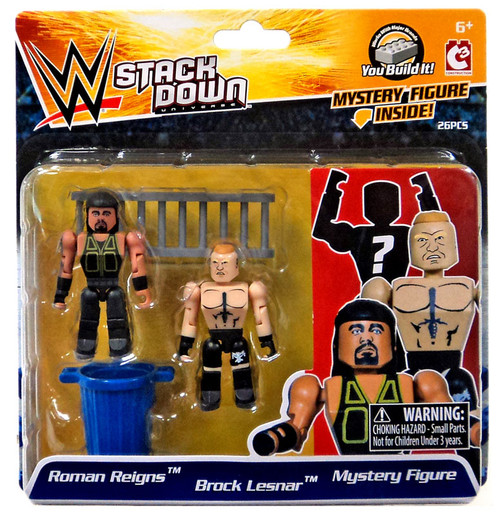 WWE Wrestling C3 Construction StackDown Roman Reigns, Brock Lesnar & Mystery Figure Minifigure