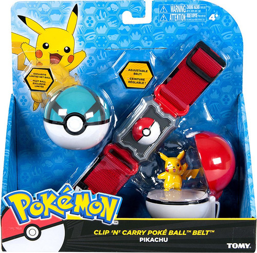 Pokemon Pikachu & Net Ball Clip 'n' Carry Poke Ball Belt