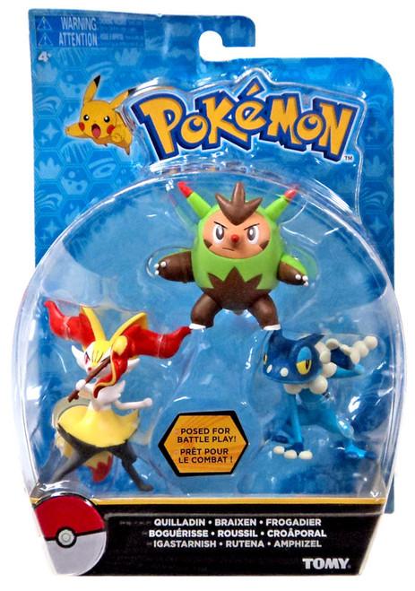 Pokemon Action Pose Quilladin, Braixen & Frogadier 3-Inch Mini Figure 3-Pack