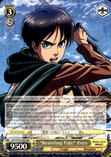 "Weiss Schwarz Attack on Titan Rare RR ""Resisting Fate"" Eren E003"