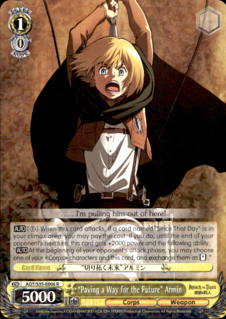 "Weiss Schwarz Attack on Titan Rare ""Paving a Way for the Future"" Armin E006"