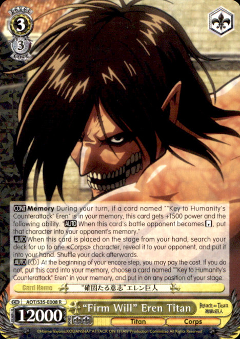 "Weiss Schwarz Attack on Titan Rare ""Firm Will"" Eren Titan E008"
