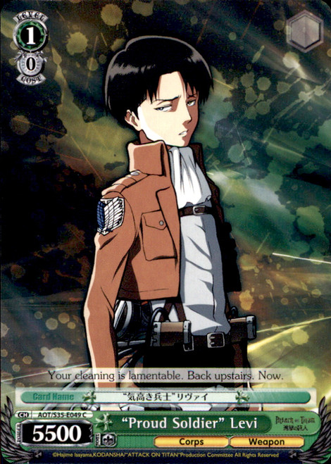 """Weiss Schwarz Attack on Titan Common """"Proud Soldier"""" Levi E049"""
