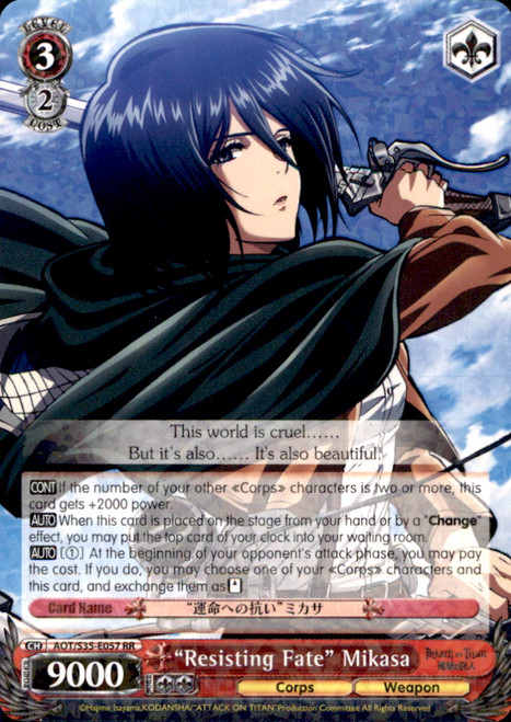 "Weiss Schwarz Attack on Titan Rare RR ""Resisting Fate"" Mikasa E057"