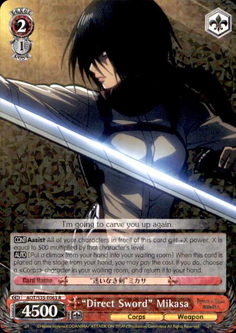 "Weiss Schwarz Attack on Titan Rare ""Direct Sword"" Mikasa E063"