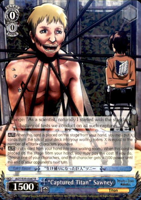 """Weiss Schwarz Attack on Titan Rare """"Captured Titan"""" Sawney E087"""