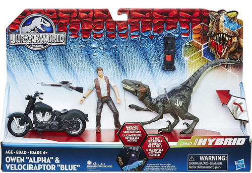 Jurassic World Dino Hybrid Owen, Alpha & Velociraptor Blue Capture Vehicle