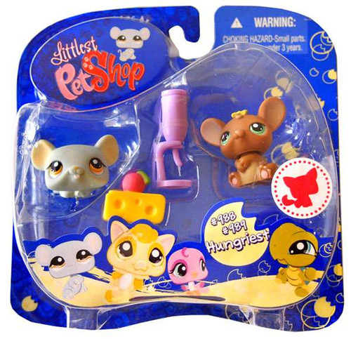 Littlest Pet Shop 2009 Assortment B Series 3 Mouse & Rat Figure 2-Pack #988, 989