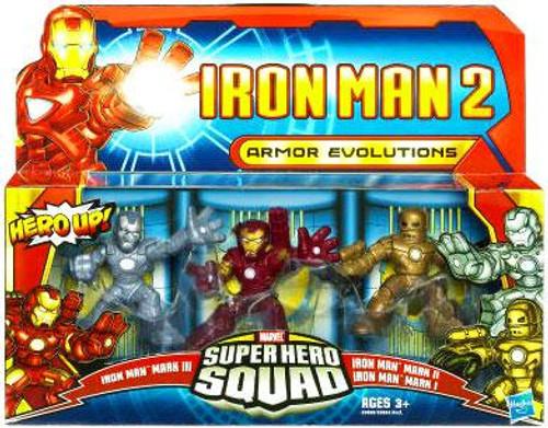Iron Man 2 Superhero Squad Iron Man Mark I, II & III Action Figure 3-Pack [Armor Evolutions]