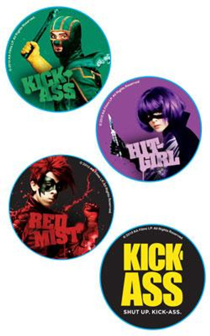 Kick-Ass Set of 4 Pins