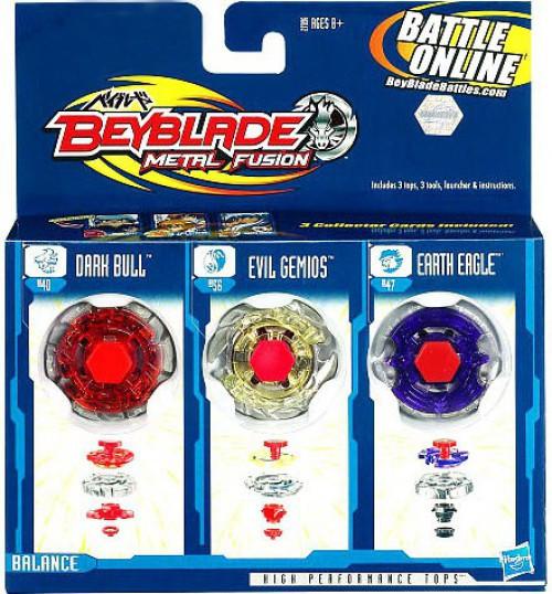 Beyblade Metal Fusion Earth Eagle, Evil Gemios & Dark Bull Exclusive 3-Pack