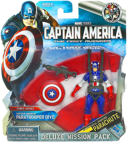 Captain America The First Avenger Deluxe Mission Pack Comic Series Paratrooper Dive Action Figure