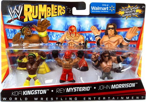WWE Wrestling Rumblers Series 1 Kofi Kingston, Rey Mysterio & John Morrison Exclusive Mini Figure 3-Pack
