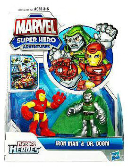 Marvel Playskool Heroes Super Hero Adventures Iron Man & Dr. Doom Action Figure 2-Pack